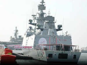 Four 'Talwar class' frontline warships will be built at Reliance Group's recently acquired Pipavav shipyard in Gujarat.  In pic: India's stealthiest warship, INS Shivalik is seen.