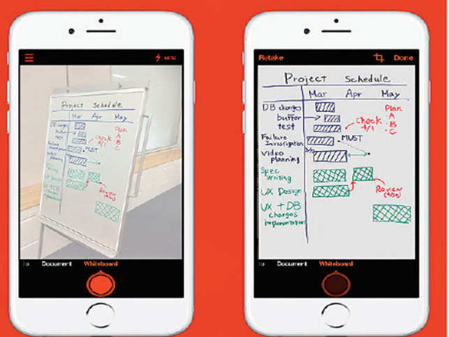 Microsoft's free Office Lens app uses your phone's camera to capture images of paper or whiteboard and then automatically crops the relevant area.
