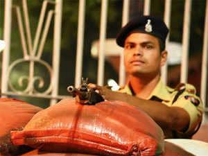 (In pic) Tight police security in premises of Vidhan bhavan in Nagpur,Maharashtra State.