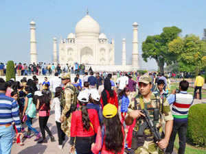 Two minarets of Taj Mahal are undergoing conservation by the Archaeological Survey of India (ASI).