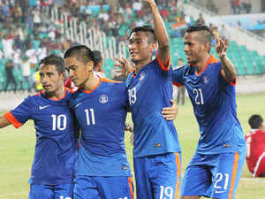India's Sunil Chhetri (11) celebrates with team mates after scoring a goal against Nepal during the SAFF Suzuki Cup 2015 match in Thiruvananthapuram on Sunday.