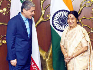 External Affairs Minister Sushma Swaraj with Minister of Economic Affairs and Finance of Iran, Ali Tayebnia before a meeting in New Delhi on Monday.