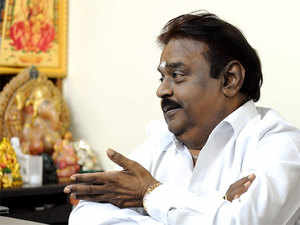 The workers raised slogans against Vijayakanth and also protested against him for allegedly behaving in an 'uncivilised' manner with the media recently.