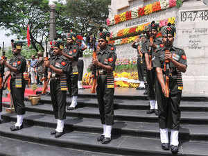 (In pic) Jawans pay homage at Victory War Memorial on the occasion of Kargil Remembrance Day in Chennai.