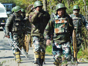 In pic: Army near the encounter site in South Kashmir's Kulgam where a prized militant Abu Qasim, the LeT chief was gunned down in an encounter with secularist forces.