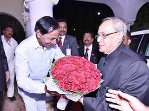 Telangana Chief Minister K Chandrasekhar Rao presented President Mukherjee an album containing photographs of events attended by the latter during the sojourn.