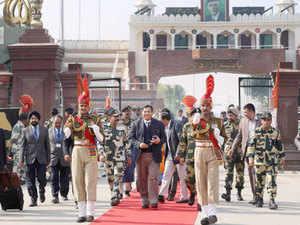India's High Commissioner to Pakistan TCA Raghavan returns India through Attari-Wagah land border.