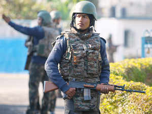 Soldiers guard at the Indian air force base in Pathankot.