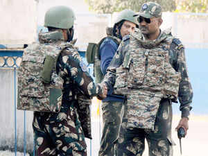 Security forces' jawans inside the Pathankot Air Force base after the end of the military operation against militants on January 5.