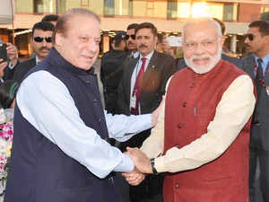 In pic: Prime Minister Narendra Modi shakes hands with his Pakistani counterpart Nawaz Sharif in Lahore, Pakistan on December 25, 2015.