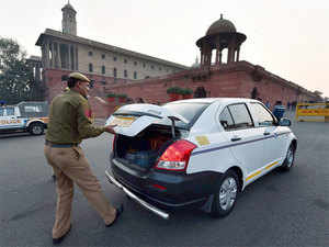 In pic: (Unrelated) Policeman checking vehicles at Raisina Hill during an alert after militant attack at Pathankot Air base, in New Delhi.