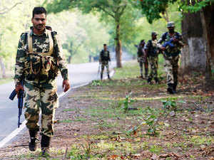 In pic: (Unrelated) Security personnel patrol in the jungles of Naxalite-infested Bastar region.