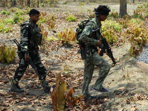 In pic: (Unrelated) CRPF jawans patrolling at Dantewada in Chattisgarh where Maoists killed 76 jawans on April 6, 2010.
