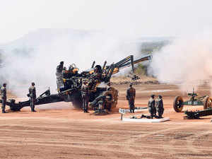 The artillery wing of Indian Army today conducted exercise 'Sarvatra Prahar', displaying its prowess, deadly firepower and a wide range of sophisticated weapons.