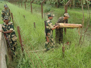 In pic: File picture of Indian Army officials at the India-Bangladesh border.