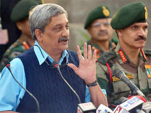 Defence Minister Manohar Parrikar speaks to the media at the air force base in Pathankot on January 5, 2016.