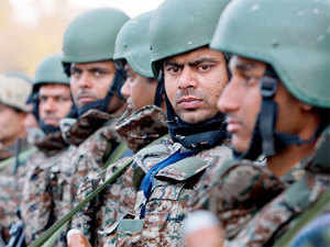 In pic: Indian army soldiers stand at the Indian air force base in Pathankot, on January 5, 2016.