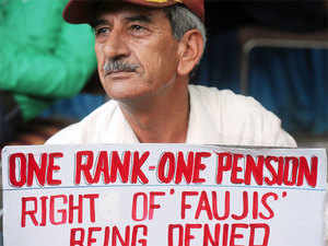 (In pic) An ex-Serviceman during their agitation for OROP scheme at Jantar Mantar in New Delhi.