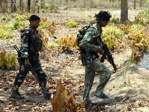 CRPF jawans patrolling at Dantewada in Chattisgarh.