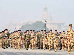French soldiers today took part in marching practice at the Rajpath along with Indian soldiers for the Republic Day celebrations next week.