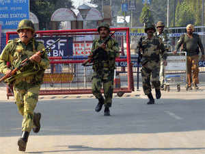 Indian Border Security Force (BSF) personnel perform security drills at the India Pakistan Wagah Border Post.