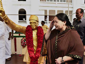 """An article in AIADMK mouthpiece 'Dr Namadhu MGR' claimed that a """"particular section"""" of DMK was erecting banners or cut-outs for members of DMK's first family."""