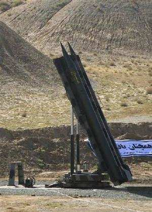 An Iranian Zelzal missile is ready for launch during a test at an unknown location in central Iran on September 27, 2009. REUTERS