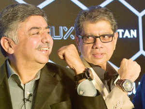 Managing Director of Titan Co limited, Bhaskar Bhat along with CEO of Watches and Accessories Division of Titan, S Ravi Kant during the the launch of Titan JUXT.