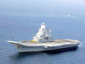(File photo) Accompanied by frontline missile destroyer INS Mysore, the Indian Navy's formidable aircraft carrier will be here until January 23.
