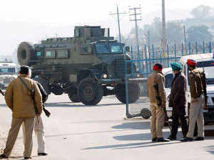 In pic: Security personnel stand guard inside the Indian Air Force (IAF) base at Pathankot in Punjab, India, January 4, 2016.