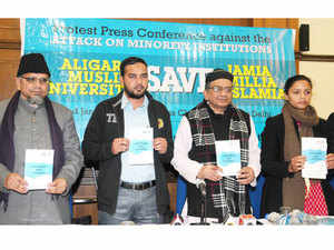 Students Islamic Organisation releasing a book during a press conference against the attack on Minority Institutions.