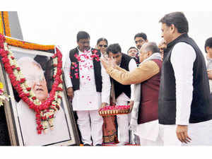"""Mulayam Singh Yadav advised Uttar Pradesh Chief Minister Akhilesh Yadav to tour others states and hold rallies there in order to become a """"big leader""""."""