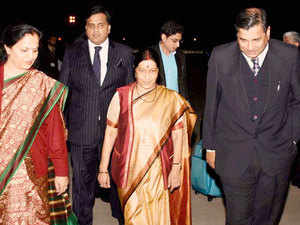 External Affairs Minister Sushma Swaraj arrived here today for the first ministerial meeting of the India-Arab League Cooperation Forum to deepen the country's ties with the 22-member grouping amid tensions between regional heavyweights Saudi Arabia and Iran.