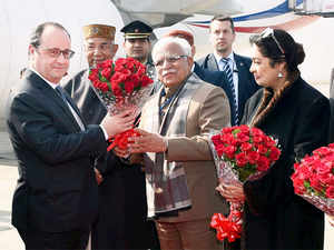 Hollande was welcomed by Governor of Punjab and Haryana Kaptan Singh Solanki and Haryana Chief Minister Manohar Lal Khattar, among others.