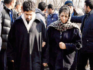 Mehbooba Mufti is seen along with her brother Mufti Tasadu.