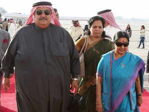 (In pic) External affairs Minister Sushma Swaraj arrives in Bahrain.