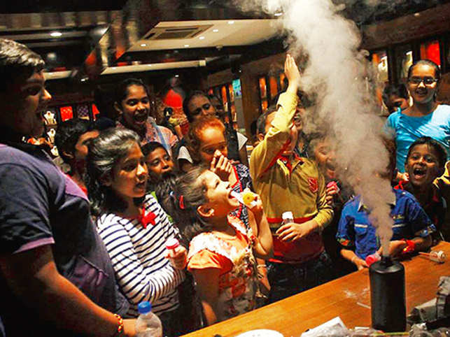 Children-friendly experiments, followed by a detailed explanation of the concepts are becoming popular at parties in Bengaluru.