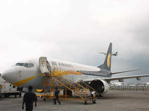 A bomb threat call today forced Jet Airways to ground its Kathmandu-bound flight carrying 104 passengers just before it was to take off from the IGI Airport .