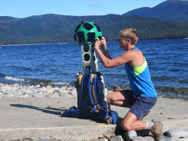Jenke completed the walks with a Google street view trekker, a wearable backpack outfitted with 360-degree cameras.