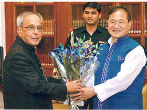 Arunachal Pradesh CM Nabam Tuki meeting President Pranab Mukherjee.