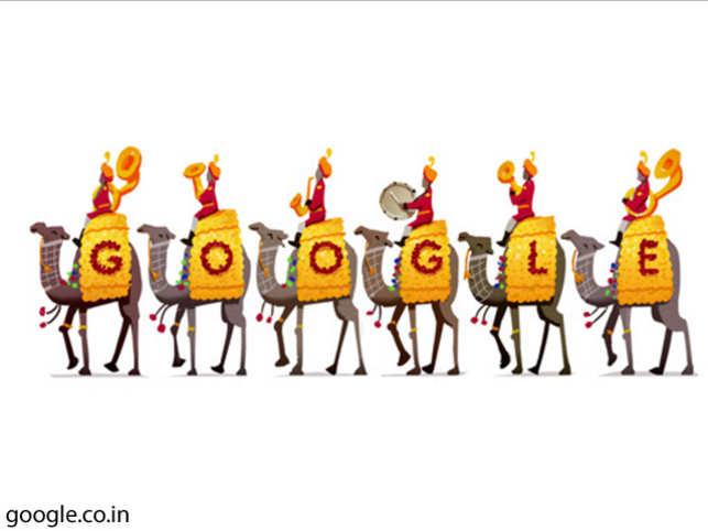 The doodle shows a march of a richly caparisoned camel contingent of the Border Security Force.