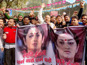 Over a thousand students from various universities gathered at the University of Hyderabad campus demanding Smriti Irani's sacking.