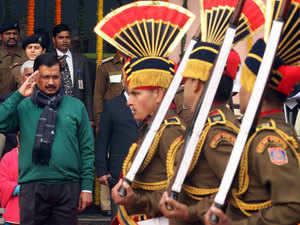 Delhi CM Arvind Kejriwal and Lt Governor Najeeb Jung were today seated together in a VIP enclosure at Rajpath during the Republic Day parade.