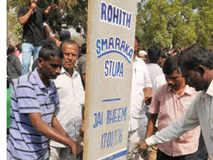 Politicians have been making a beeline to the Hyderabad Central University, where a memorial stone has been put up for Rohith Vemula.