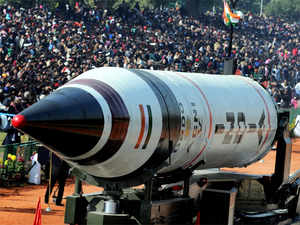 File photo of the Agni V missile at Republic Day.