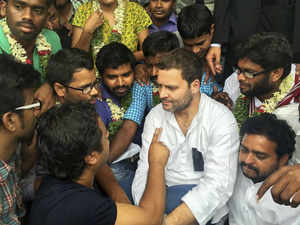 Rahul Gandhi today commenced a day-long fast along with agitating students of Hyderabad Central University here after participating in a candle light vigil.