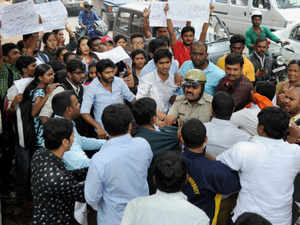Activists of the ABVP today protested against the visit of Congress Vice-President Rahul Gandhi to the Hyderabad Central University campus.