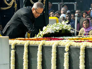 President Pranab Mukherjee and Prime Minister Narendra Modi lead the country in paying homage to the Father of the Nation.