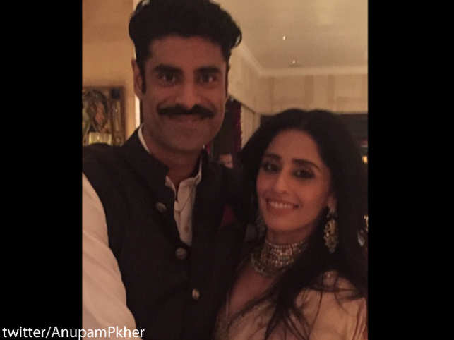 Kirron and Anupam Kher's son exchanged rings with Priya, who is Sonam Kapoor's first cousin, in a private ceremony in Mumbai.