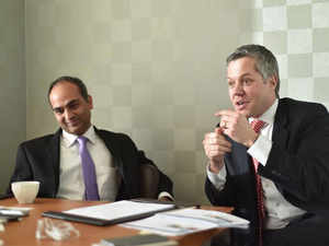 Andre Frei, Partener, Co-Chief Executive Officer and Manas Tandon, Managing Director of Partners Group in Mumbai.